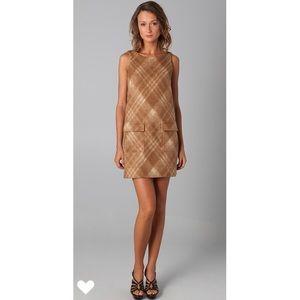 Shoshanna Tan Plaid Pocket Shift Dress size 2